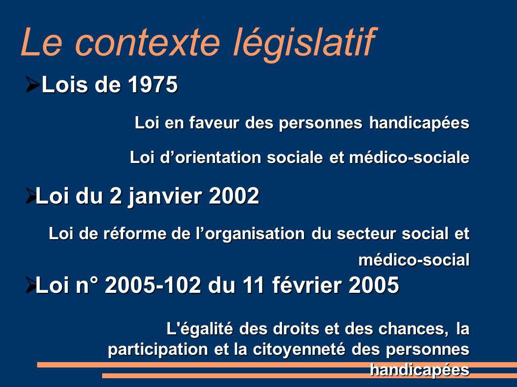 Lois de 1975 Lois de 1975 Loi en faveur des personnes handicapées Loi dorientation sociale et médico-sociale Loi du 2 janvier 2002 Loi du 2 janvier 20