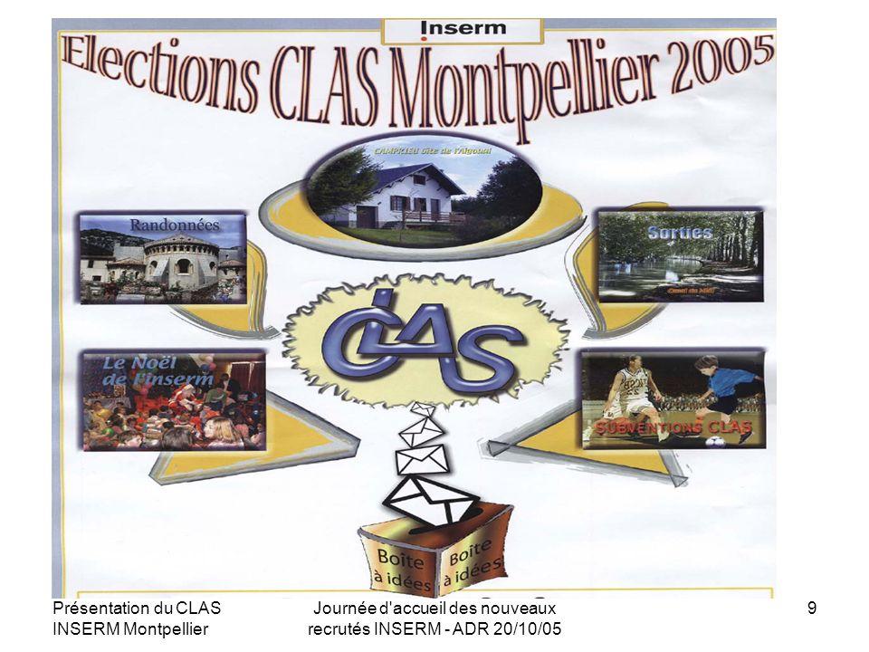 Présentation du CLAS INSERM Montpellier Journée d'accueil des nouveaux recrutés INSERM - ADR 20/10/05 9