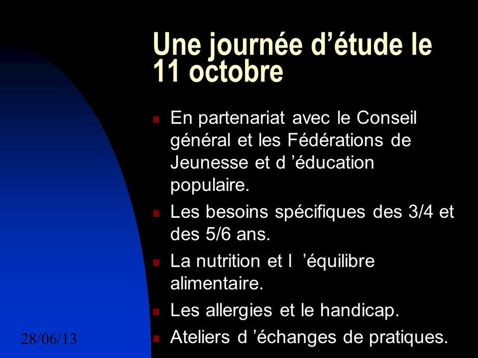 28/06/1317 Une journée détude le 11 octobre En partenariat avec le Conseil général et les Fédérations de Jeunesse et d éducation populaire.