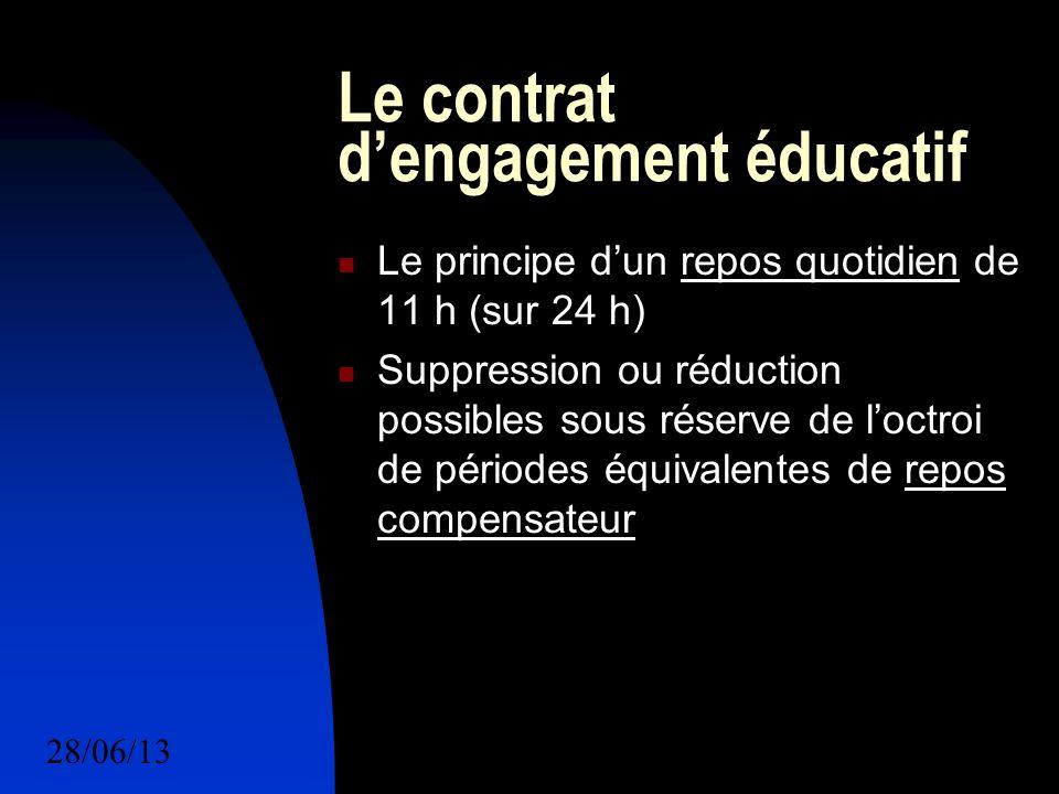 28/06/134 Le contrat dengagement éducatif Le principe dun repos quotidien de 11 h (sur 24 h) Suppression ou réduction possibles sous réserve de loctroi de périodes équivalentes de repos compensateur