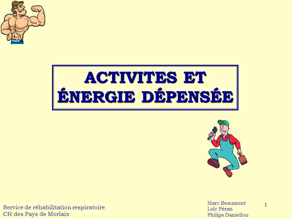 1 ACTIVITES ET ÉNERGIE DÉPENSÉE Service de réhabilitation respiratoire CH des Pays de Morlaix Marc Beaumont Loïc Péran Philipe Daniellou