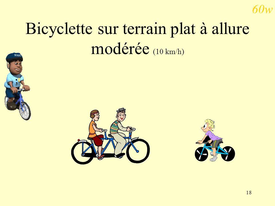 18 Bicyclette sur terrain plat à allure modérée (10 km/h) 60w