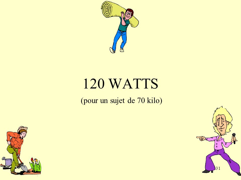 31 120 WATTS (pour un sujet de 70 kilo)