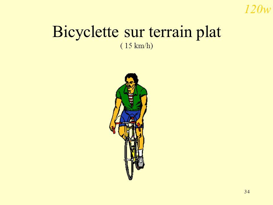 34 Bicyclette sur terrain plat ( 15 km/h) 120w
