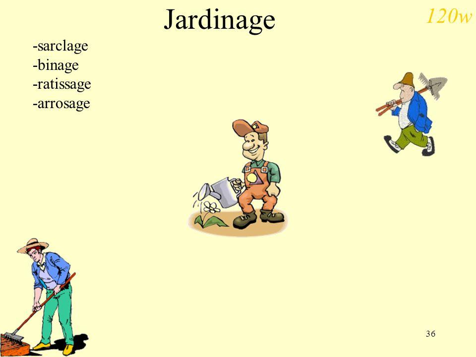 36 Jardinage -sarclage -binage -ratissage -arrosage 120w