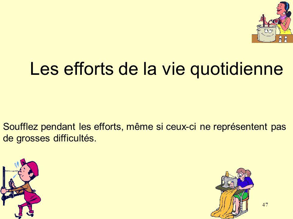 47 Les efforts de la vie quotidienne Soufflez pendant les efforts, même si ceux-ci ne représentent pas de grosses difficultés.