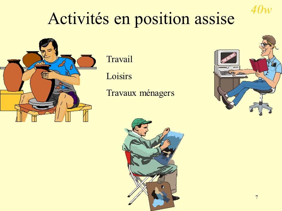 7 Activités en position assise Travail Loisirs Travaux ménagers 40w
