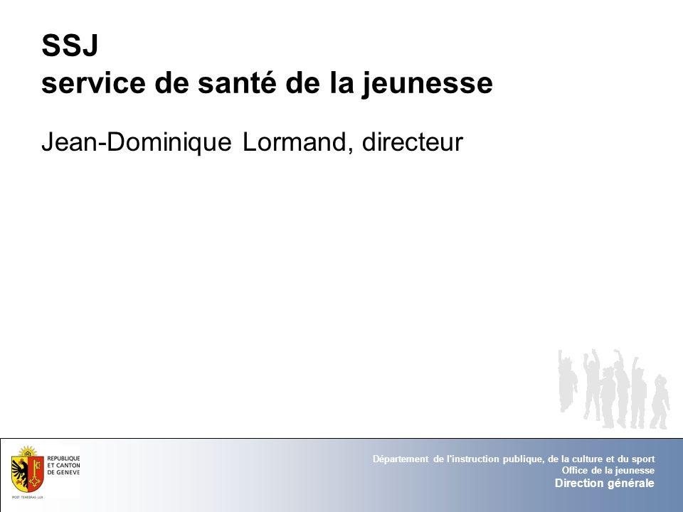 Département de l'instruction publique, de la culture et du sport Office de la jeunesse Direction générale SSJ service de santé de la jeunesse Jean-Dom