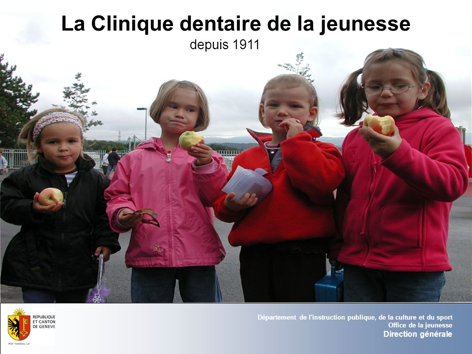 Département de l'instruction publique, de la culture et du sport Office de la jeunesse Direction générale La Clinique dentaire de la jeunesse depuis 1