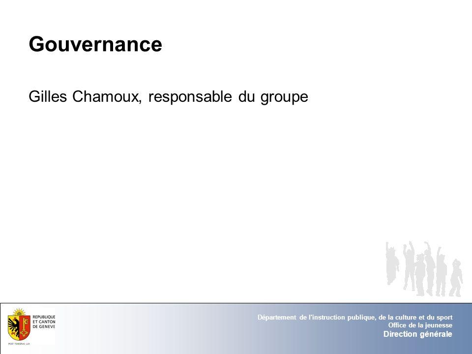 Département de l'instruction publique, de la culture et du sport Office de la jeunesse Direction générale Gouvernance Gilles Chamoux, responsable du g