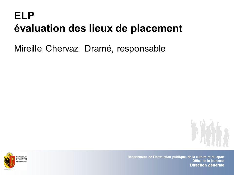 Département de l instruction publique, de la culture et du sport Office de la jeunesse Direction générale Groupe Charte Ethique Jean-Dominique Lormand, responsable du groupe