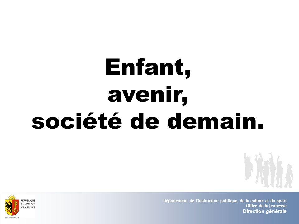 Département de l'instruction publique, de la culture et du sport Office de la jeunesse Direction générale Enfant, avenir, société de demain.