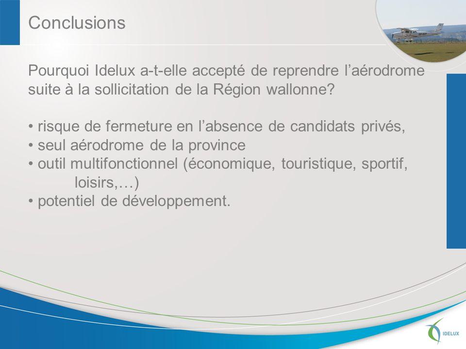 Conclusions Pourquoi Idelux a-t-elle accepté de reprendre laérodrome suite à la sollicitation de la Région wallonne.