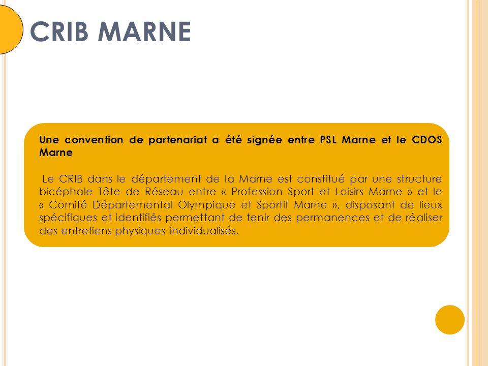 CRIB MARNE Une convention de partenariat a été signée entre PSL Marne et le CDOS Marne Le CRIB dans le département de la Marne est constitué par une structure bicéphale Tête de Réseau entre « Profession Sport et Loisirs Marne » et le « Comité Départemental Olympique et Sportif Marne », disposant de lieux spécifiques et identifiés permettant de tenir des permanences et de réaliser des entretiens physiques individualisés.