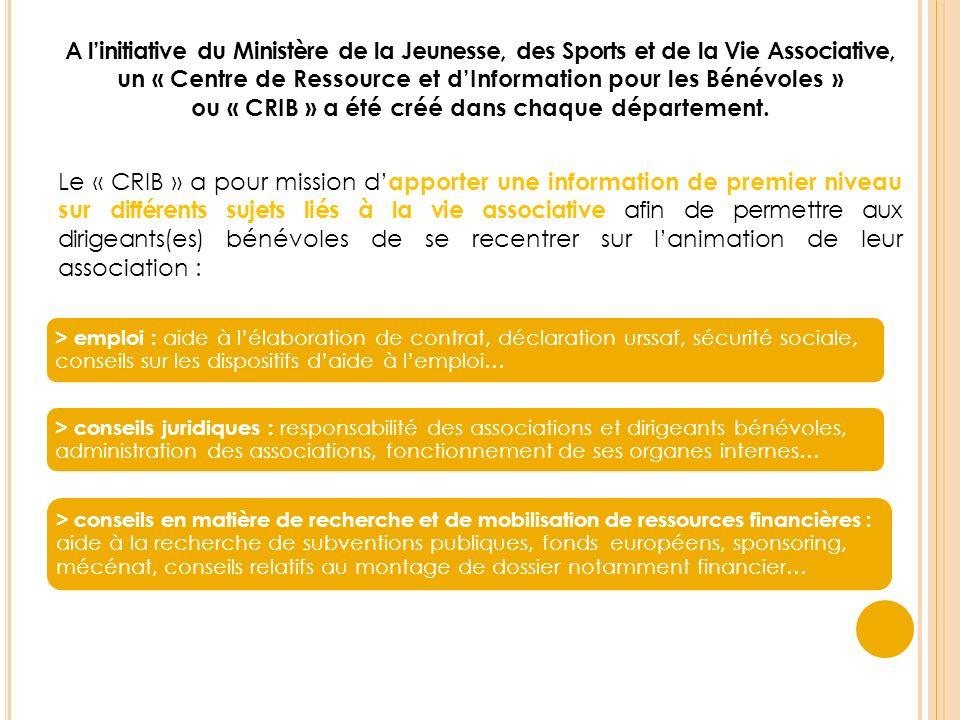 A linitiative du Ministère de la Jeunesse, des Sports et de la Vie Associative, un « Centre de Ressource et dInformation pour les Bénévoles » ou « CRIB » a été créé dans chaque département.