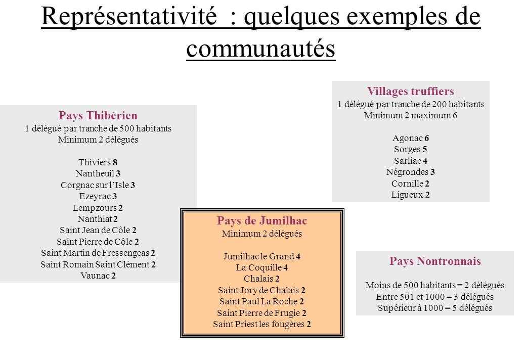 Représentativité : quelques exemples de communautés Pays Thibérien 1 délégué par tranche de 500 habitants Minimum 2 délégués Thiviers 8 Nantheuil 3 Co