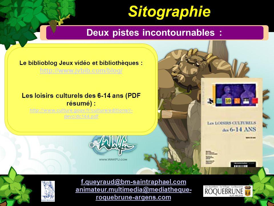 CI ! Sitographie Deux pistes incontournables : Le biblioblog Jeux vidéo et bibliothèques : http://www.jvbib.com/blog/ Les loisirs culturels des 6-14 a