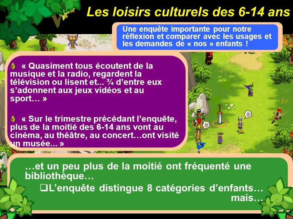 Les loisirs culturels des 6-14 ans Une enquête importante pour notre réflexion et comparer avec les usages et les demandes de « nos » enfants ! « Quas