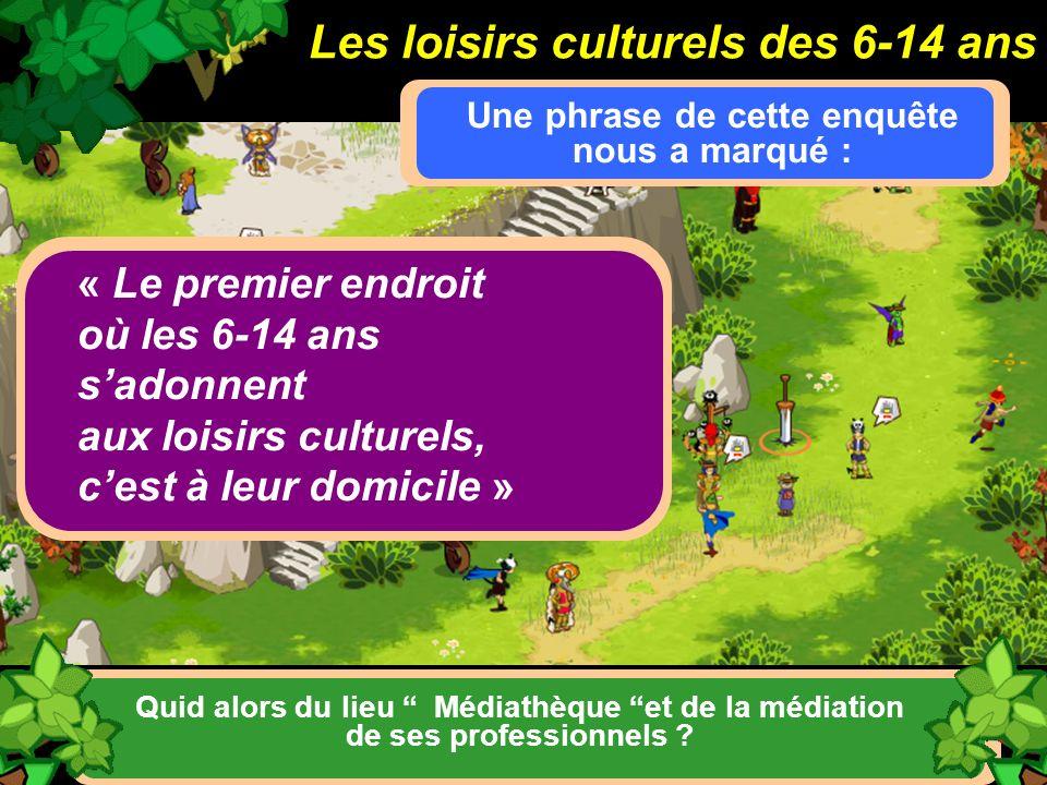 Les loisirs culturels des 6-14 ans Une phrase de cette enquête nous a marqué : « Le premier endroit où les 6-14 ans sadonnent aux loisirs culturels, c