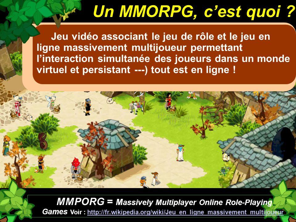 Jeu vidéo associant le jeu de rôle et le jeu en ligne massivement multijoueur permettant linteraction simultanée des joueurs dans un monde virtuel et