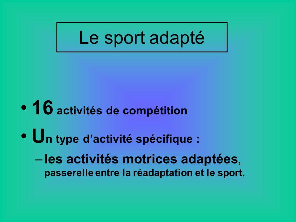 16 activités de compétition U n type dactivité spécifique : –les activités motrices adaptées, passerelle entre la réadaptation et le sport.