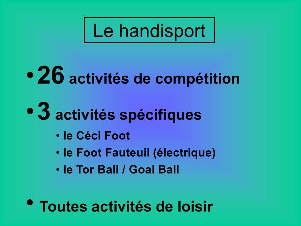 Le handisport 26 activités de compétition 3 activités spécifiques le Céci Foot le Foot Fauteuil (électrique) le Tor Ball / Goal Ball Toutes activités de loisir