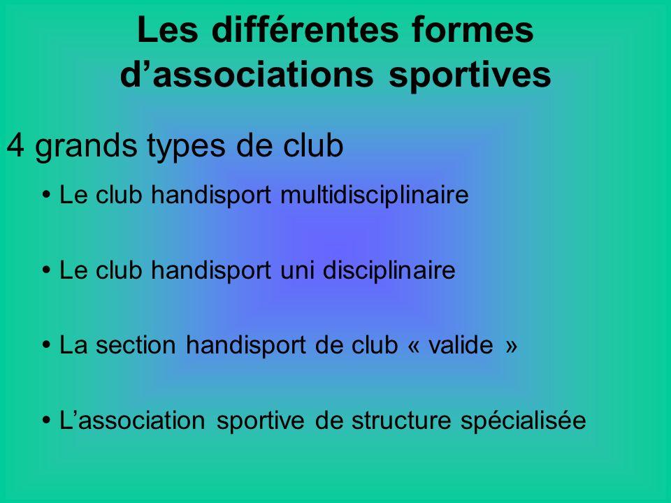 4 grands types de club Le club handisport multidisciplinaire Le club handisport uni disciplinaire La section handisport de club « valide » Lassociation sportive de structure spécialisée Les différentes formes dassociations sportives
