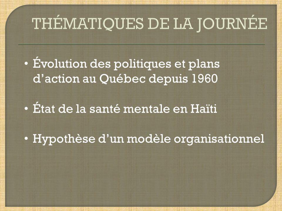 Évolution des politiques et plans daction au Québec depuis 1960 État de la santé mentale en Haïti Hypothèse dun modèle organisationnel