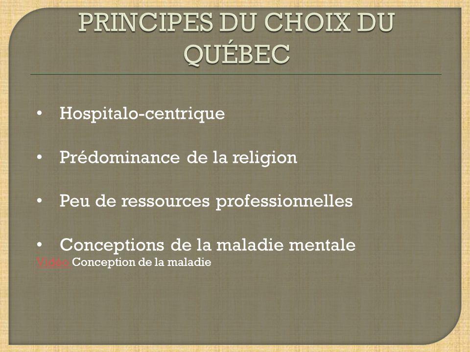 Hospitalo-centrique Prédominance de la religion Peu de ressources professionnelles Conceptions de la maladie mentale Vidéo Vidéo Conception de la maladie