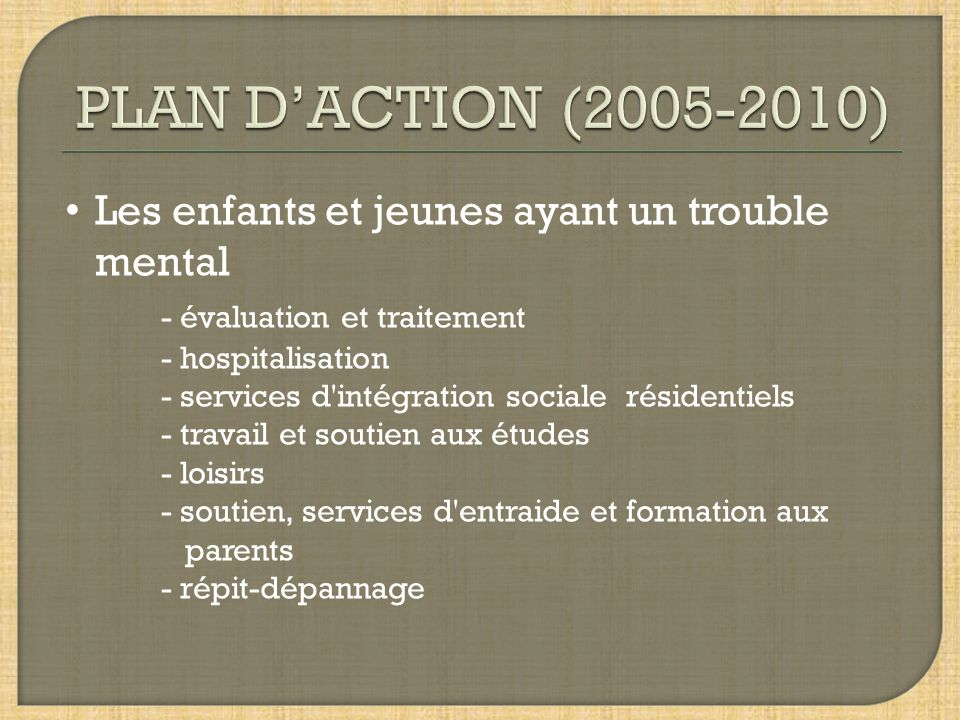 Les enfants et jeunes ayant un trouble mental - évaluation et traitement - hospitalisation - services d'intégration sociale résidentiels - travail et