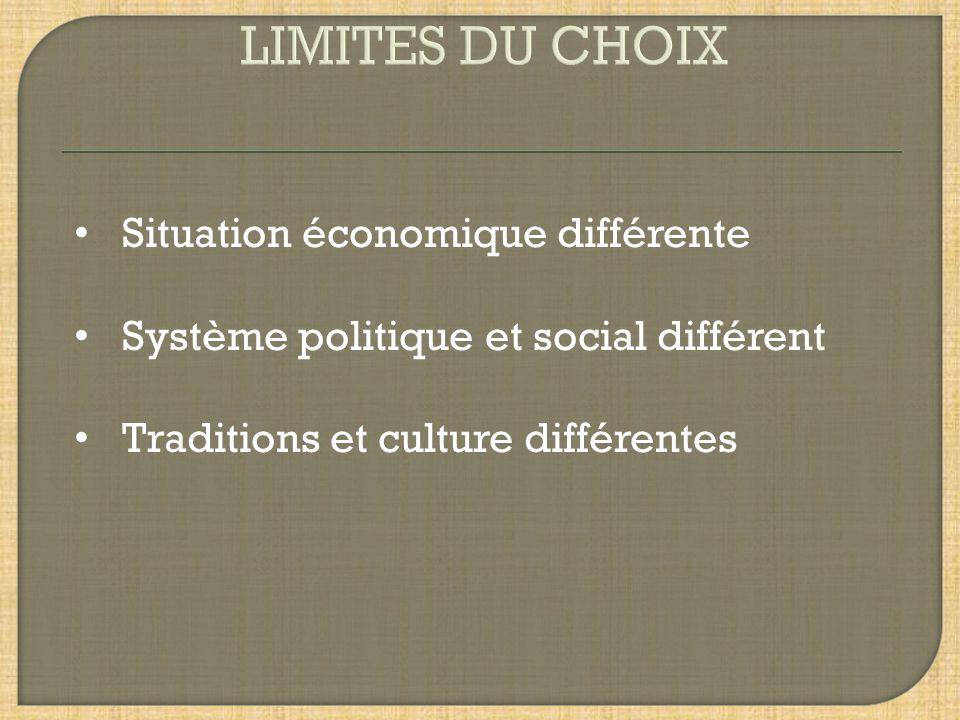 Situation économique différente Système politique et social différent Traditions et culture différentes