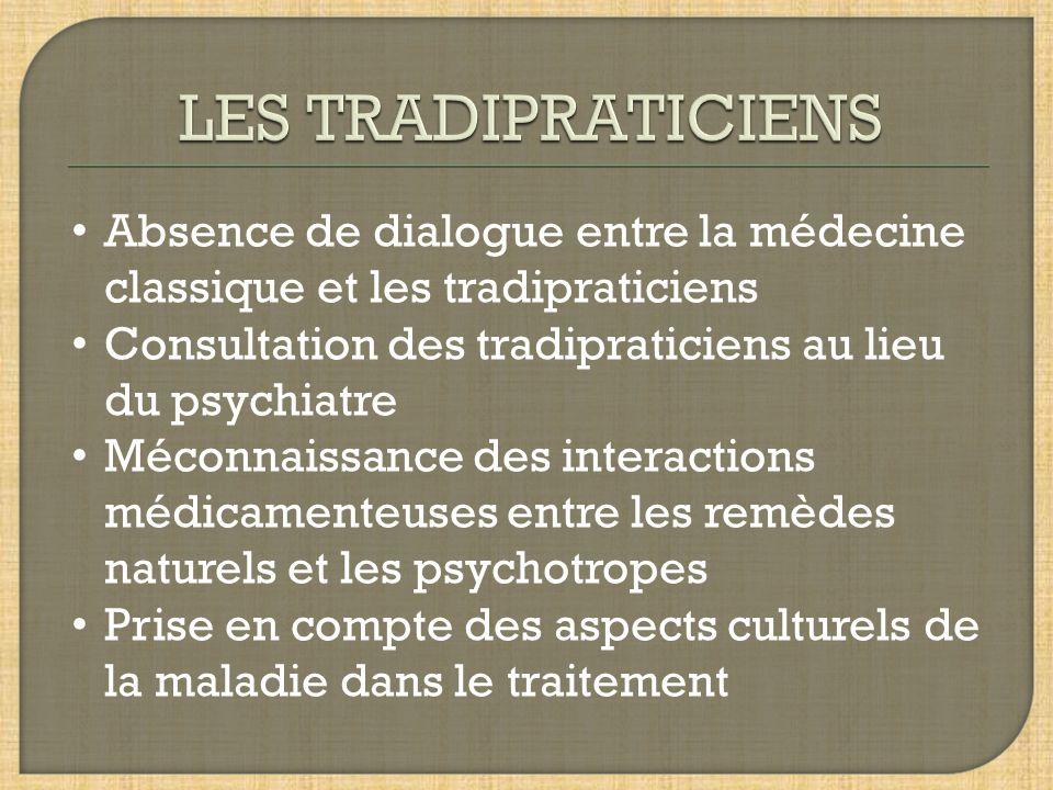 Absence de dialogue entre la médecine classique et les tradipraticiens Consultation des tradipraticiens au lieu du psychiatre Méconnaissance des interactions médicamenteuses entre les remèdes naturels et les psychotropes Prise en compte des aspects culturels de la maladie dans le traitement