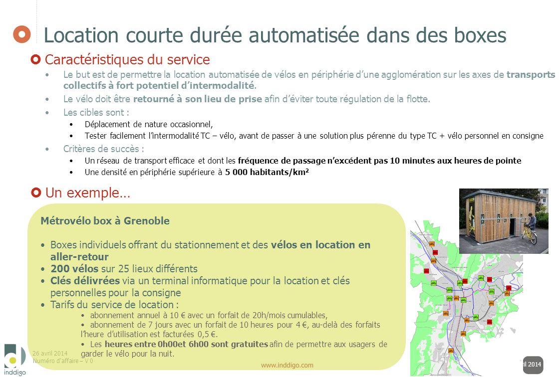 26 avril 2014 Numéro daffaire – V 0 13 samedi 26 avril 2014 Location courte durée automatisée dans des boxes Le but est de permettre la location autom