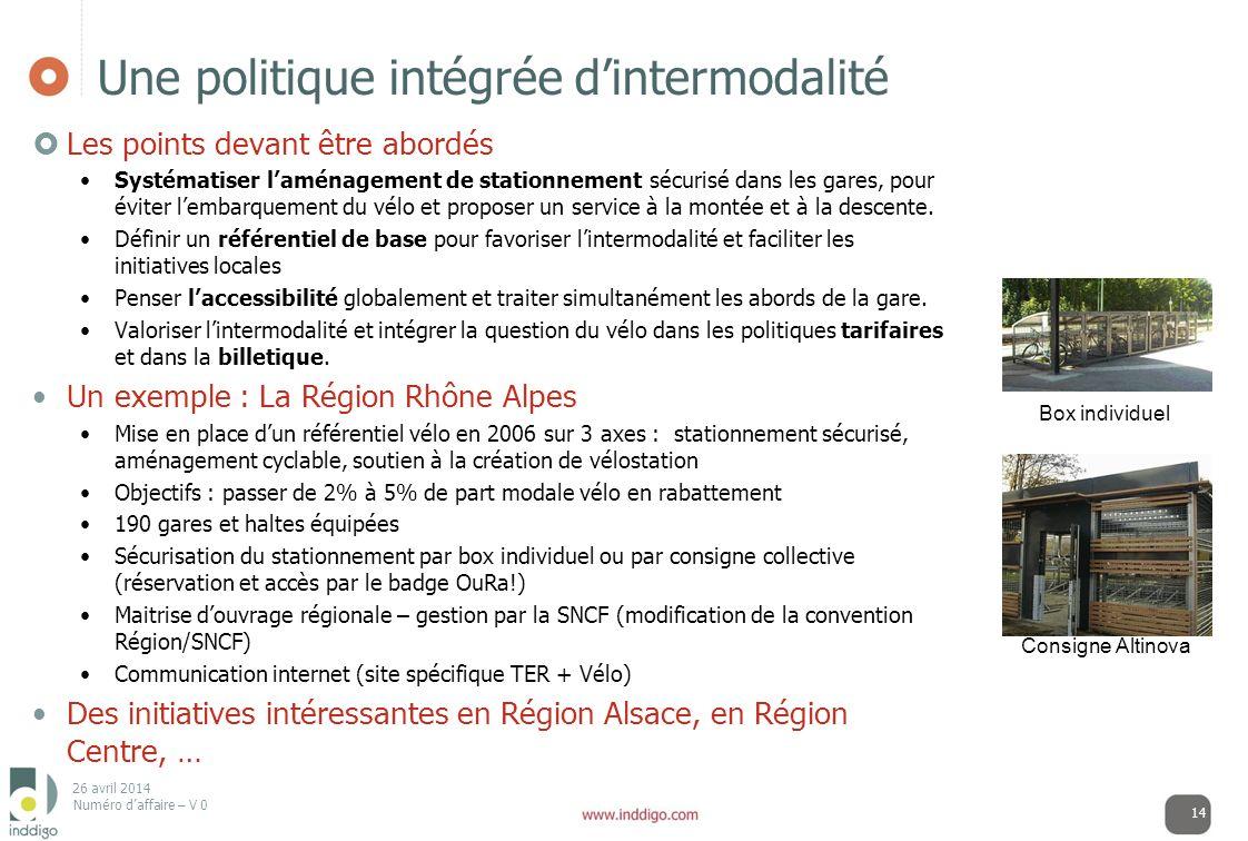 26 avril 2014 Numéro daffaire – V 0 Une politique intégrée dintermodalité Les points devant être abordés Systématiser laménagement de stationnement sé