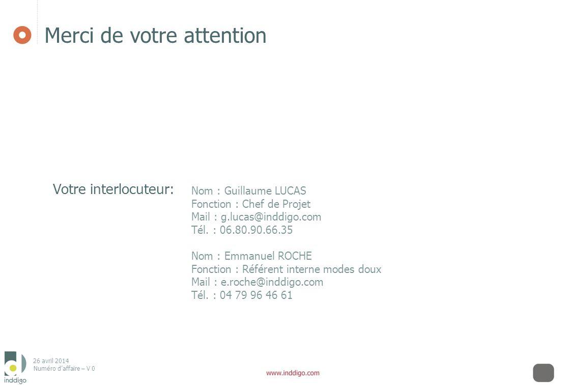 26 avril 2014 Numéro daffaire – V 0 Merci de votre attention Nom : Guillaume LUCAS Fonction : Chef de Projet Mail : g.lucas@inddigo.com Tél. : 06.80.9