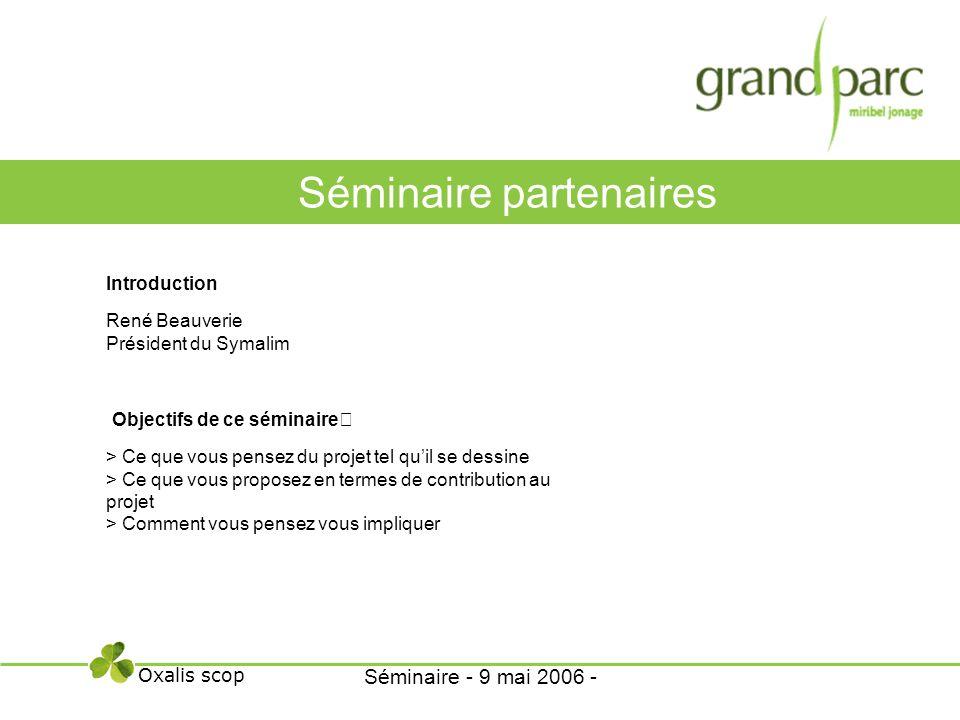 Introduction René Beauverie Président du Symalim Objectifs de ce séminaire > Ce que vous pensez du projet tel quil se dessine > Ce que vous proposez e