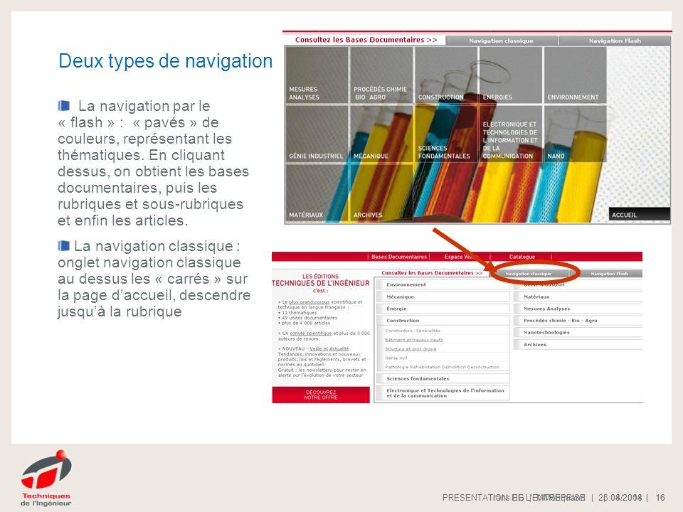 | 08/2008 |PRESENTATION DE L'ENTREPRISE 16 | 26.04.2014 |Trans EG | MMoriquand 16 Deux types de navigation La navigation par le « flash » : « pavés »