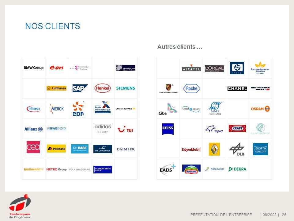 | 08/2008 |PRESENTATION DE L'ENTREPRISE 26 REWI Handwerksbüro NOS CLIENTS Autres clients …