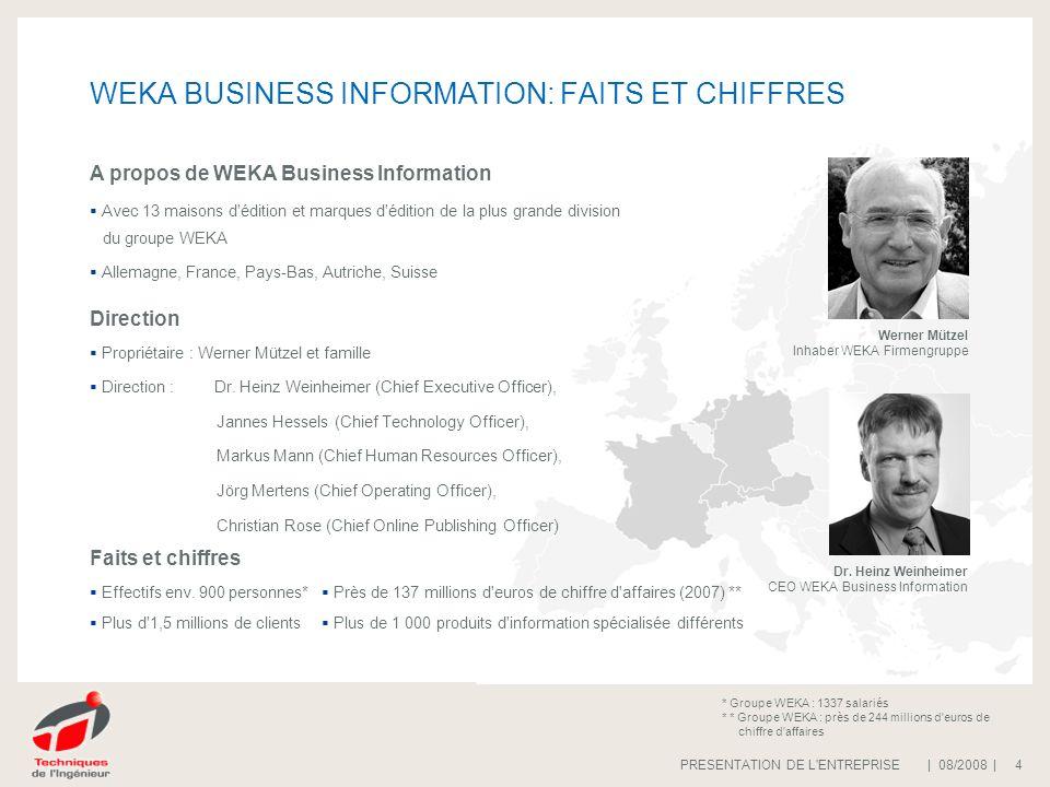 | 08/2008 |PRESENTATION DE L ENTREPRISE 5 WEKA BUSINESS INFORMATION: Produits et Services OFFRES EN LIGNE MEDIAS ELECTRONIQUES Solutions en ligne...