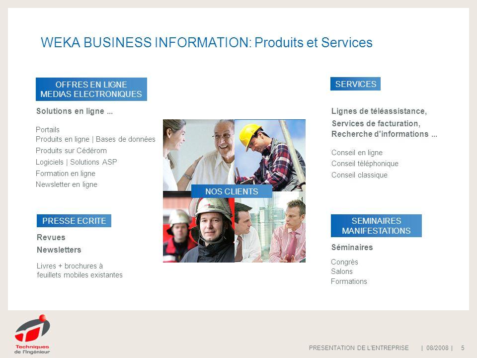 | 08/2008 |PRESENTATION DE L'ENTREPRISE 5 WEKA BUSINESS INFORMATION: Produits et Services OFFRES EN LIGNE MEDIAS ELECTRONIQUES Solutions en ligne... P
