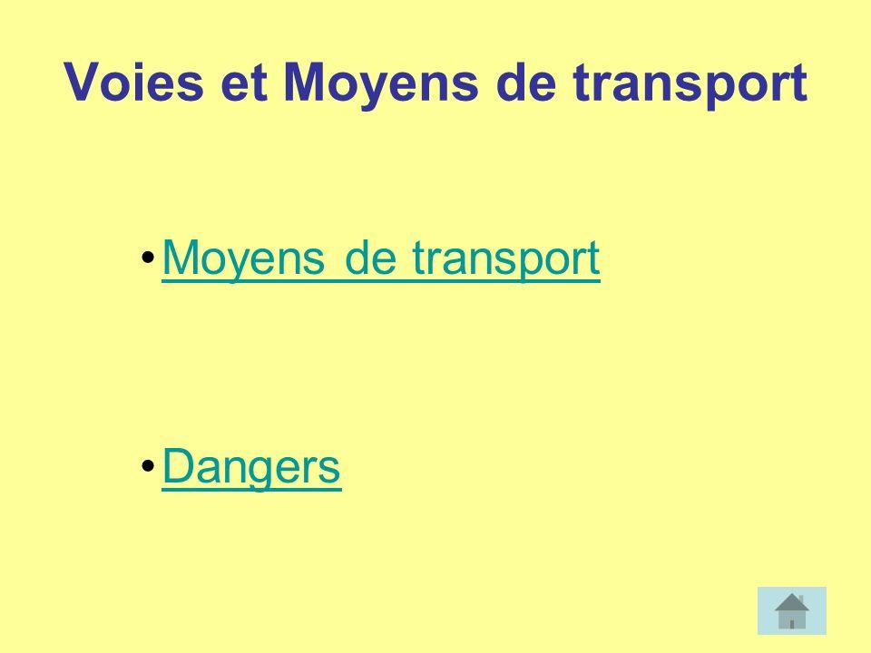 Voies et Moyens de transport Moyens de transport Dangers