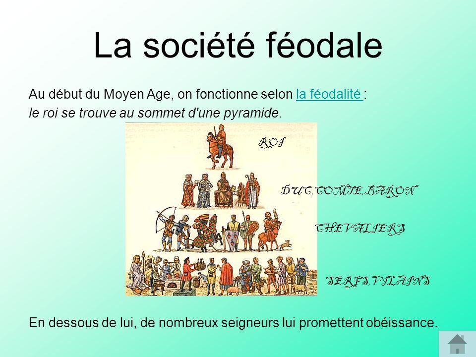 La société féodale Au début du Moyen Age, on fonctionne selon la féodalité :la féodalité le roi se trouve au sommet d'une pyramide. En dessous de lui,