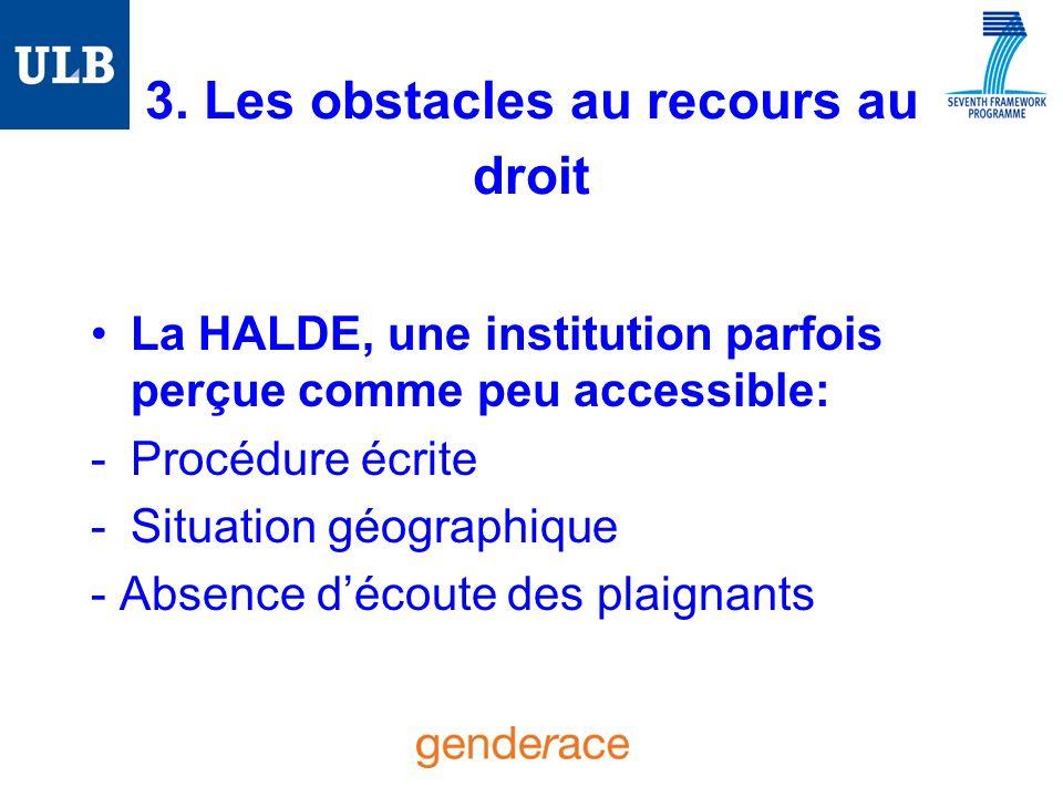 3. Les obstacles au recours au droit La HALDE, une institution parfois perçue comme peu accessible: -Procédure écrite -Situation géographique - Absenc