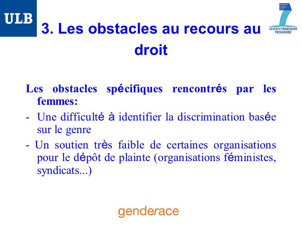 3. Les obstacles au recours au droit Les obstacles sp é cifiques rencontr é s par les femmes: -Une difficult é à identifier la discrimination bas é e