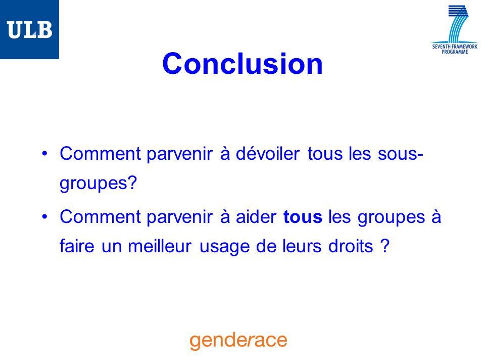 Conclusion Comment parvenir à dévoiler tous les sous- groupes.