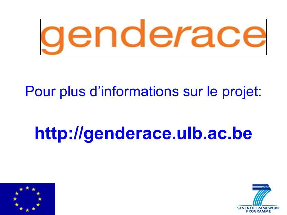 Pour plus dinformations sur le projet: http://genderace.ulb.ac.be