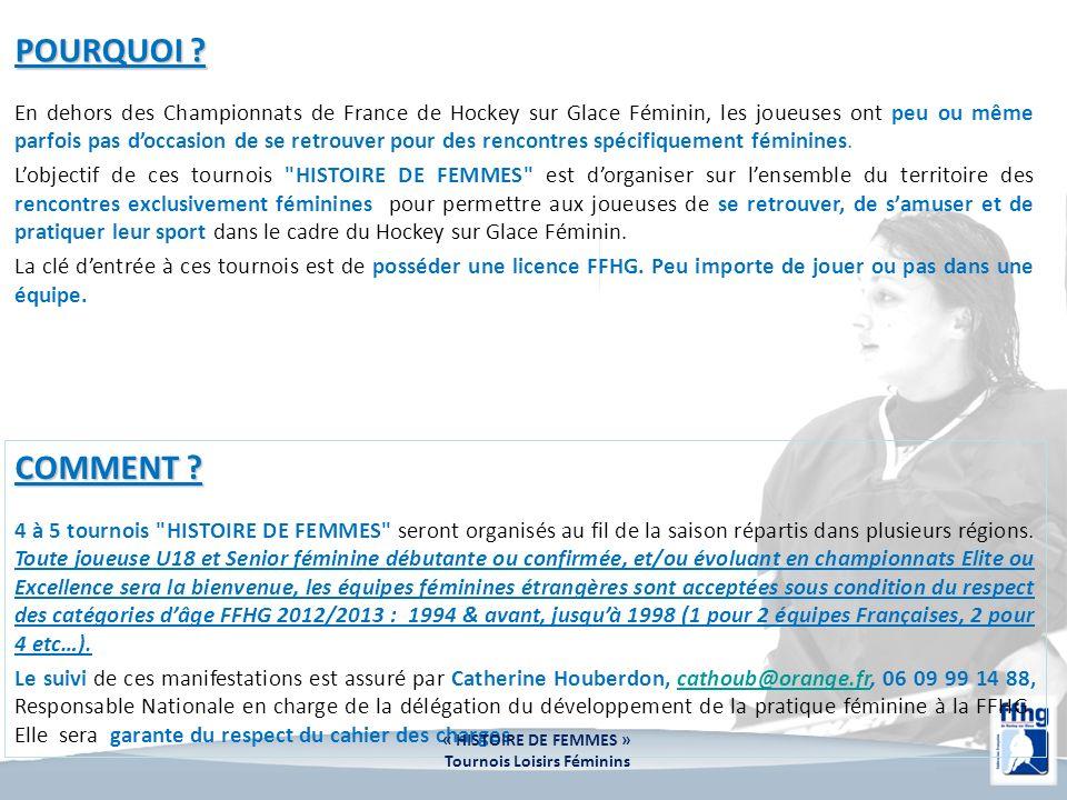 POURQUOI ? En dehors des Championnats de France de Hockey sur Glace Féminin, les joueuses ont peu ou même parfois pas doccasion de se retrouver pour d