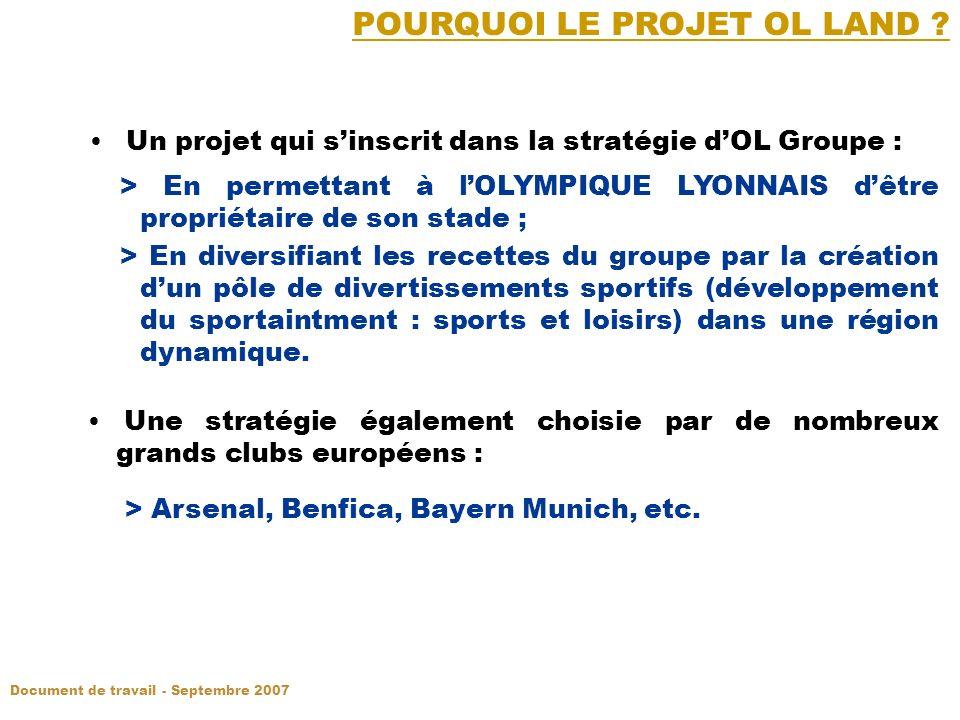 Un projet qui sinscrit dans la stratégie dOL Groupe : > En permettant à lOLYMPIQUE LYONNAIS dêtre propriétaire de son stade ; > En diversifiant les recettes du groupe par la création dun pôle de divertissements sportifs (développement du sportaintment : sports et loisirs) dans une région dynamique.