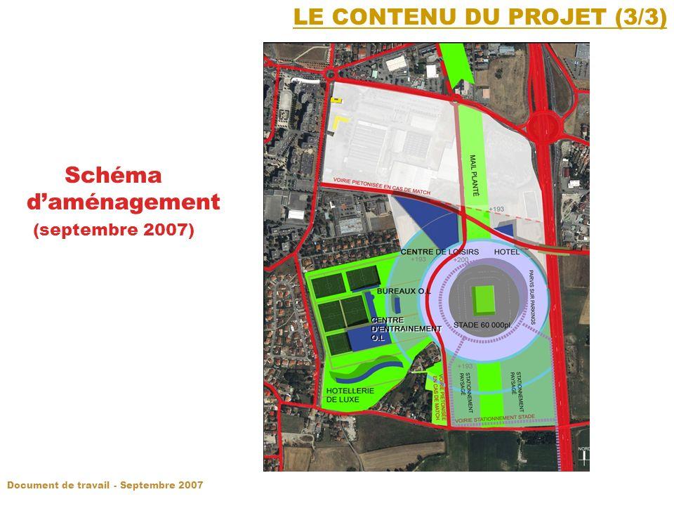 LE CONTENU DU PROJET (3/3) Schéma daménagement (septembre 2007) Document de travail - Septembre 2007