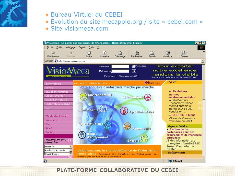 Bureau Virtuel du CEBEI Évolution du site mecapole.org / site « cebei.com » Site visiomeca.com PLATE-FORME COLLABORATIVE DU CEBEI